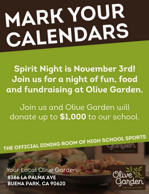 please join us for a night of fun food and fundraising for spiritnight at olive garden on tuesday november 3rd 4pm close olive garden will donate up - Olive Garden Buena Park